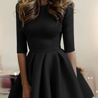 Black Round Neck 3/4 Sleeve Skater Mini Dress