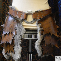 Leather leaf tasset (upper leg armor), spring or fall color with fur option, perfect for your wood elf costume