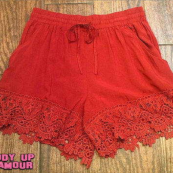 Summer Lovin' Shorts with Scalloped Lace Trim in Rust Orange