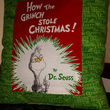 How the Grinch Stole Christmas PiLLOW 14X13 BoUTIQUE HANDMaDE READY TO SHiP NoW!! Contasting FABRIC on Back BOuTiQUe Designs by Sugarbear