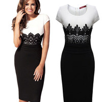 Mosaic Lace Ball Gown Star One Piece Dress = 5861522113