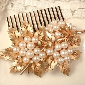 True Vintage Pearl & Rhinestone Brushed Gold Leaf Bridal Hair Comb, Rose Gold Heirloom TRIFARI Brooch to OOAK Vintage Wedding Hair Accessory
