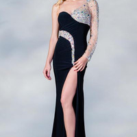 PRIMA C137654 One Sleeve Prom Dress