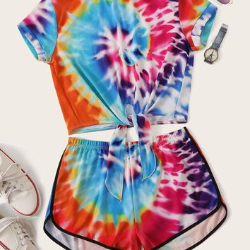 Tie Dye Knot Hem Top and Dolphin Shorts Set