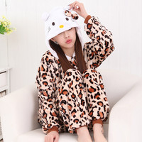 Sleepwear Animal Leopard Cartoons Set Halloween Costume [9220976580]