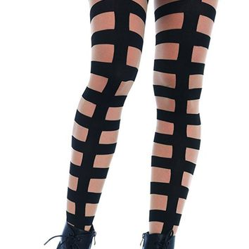 Caged in Strappy Illusion Tights