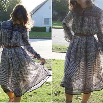 70s vtg DEADSTOCK sheer gauze hippie INDIA boho festival ETHNIC floral gypsy dress