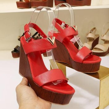 Louis Vuitton LV Women Fashion High Heels Shoes Red