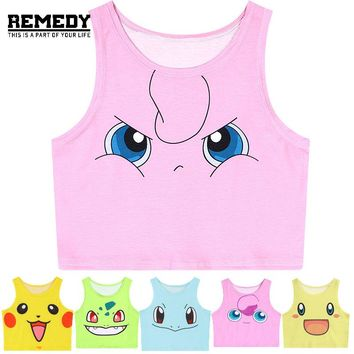 New Summer Tank Top Women Pokemon Pikachu Jigglypuff Squirtle Bulbasaur 3D Print Sexy Bustier Crop Top Kawaii Casual Camisole