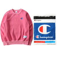 Tide brand Champion sweater plus velvet embroidery logo models couple models top Pink