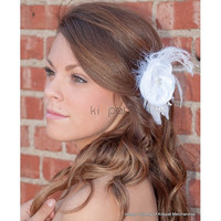 Wedding Flower Clip,Bridal Hair Accessory,Feather Hair Clip,Wedding Head Piece,Ready to Ship