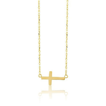 Real Gold Cross Necklace Christmas Gift Religious Jewelry women's Cross Solid Gold Cross For Woman Christian Cross Necklace Baptism Cross