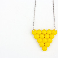 Yellow geometric necklace, minimalist triangle pendant , polymer clay jewelry, geometrical