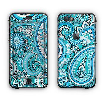 The Vibrant Blue and White Paisley Design Apple iPhone 6 Plus LifeProof Nuud Case Skin Set