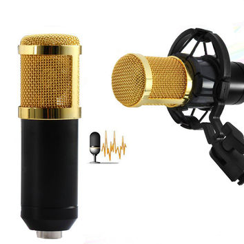 BM800 High Quality Professional Condenser Sound Recording Microphone with Shock Mount for Radio Braodcasting Singing Black