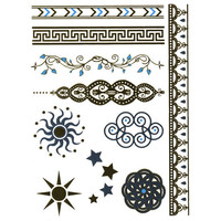 Metallic Filigree/Sun Temporary Tattoos Metal One Size For Women 25366609201