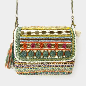Wood Bead Embroidery Knit Tassel Tote Bag