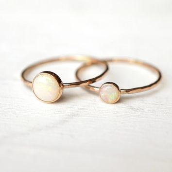 Opal Ring, Ring Set, Mother Daughter Rings, 14k Gold Ring, Rose Gold Ring, Stacking Ring, White Gold Ring, Yellow Gold Ring, Textured Ring