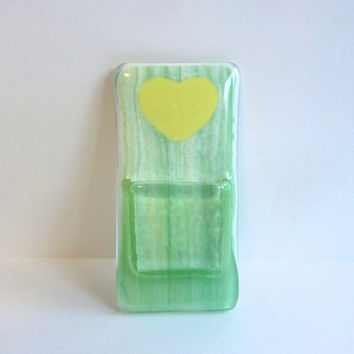 Green and Yellow Glass Pocket Magnetic Vase
