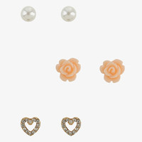 Set of 3 Rosette & Heart  Studs
