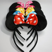 Cute Christmas Red Bows Minnie Mouse Ears Party Kids Headbands Boys Girl Adult Hair bands birthday supplies Party Accessories