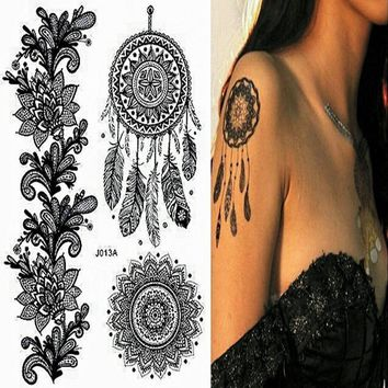 1PC Black Dream Catcher Fake Women Men DIY Henna Body Art Tattoo Design Body Art Temporary Tattoo Stickers J013A