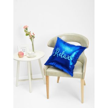 Slogan Embroidery Metallic Pillowcase