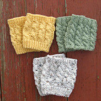 3 pairs of women's Cable Knit Boot Cuffs , Boot Toppers, Boot Socks, Faux Leg Warmers, Chunky and Thick, Textured and Stretchy