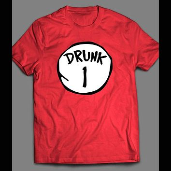 "DR. SEUSS PARODY OF THING 1 & 2 ""DRUNK 1 & DRUNK 2 T-SHIRTS"
