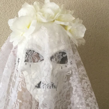 Mask,Veiled Skull Mask,The Crying Lady Mask,La Llorona,Day of The Dead,The Weeping Woman, Fantasy Mask,White Skull Mask