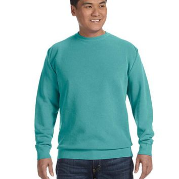 Garment-Dyed Fleece Crewneck Long Sleeves Sweatshirt