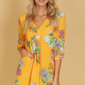 Pocketed Floral Shift Dress Lemon Mix