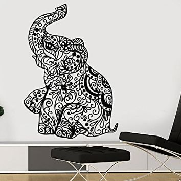 Wall Decal Elephant Vinyl Sticker Decals Lotus Indian Elephant Floral Patterns Mandala Tribal Buddha Ganesh Om Home Decor Bedroom Art Design Interior NS910