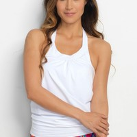 Ultra Soft White Blouson Tankini Top