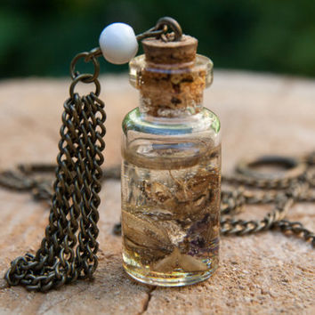 Handmade bottle necklace. Plants in bottle. Handicrafted one-of-a-kind necklace. Gift for her. Handmade jewelry with flowers