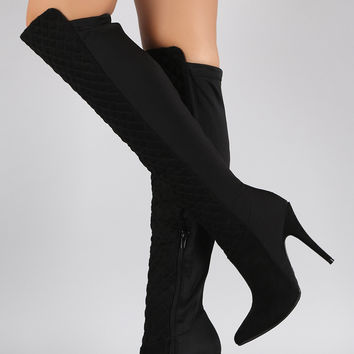 Suede Quilted Lycra Stiletto Boots