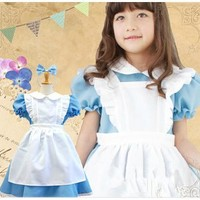 Halloween Kids Girls Deluxe Alice In Wonderland Blue / Pink Party Dress Alice Dream Kids Lolita Cosplay Costume