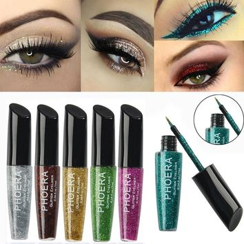 Professional Eye Makeup Heavy Metal Glitter Eyeliner Waterproof Long-lasting White Liquid Eye liner Pen Cosmetics for Eyes