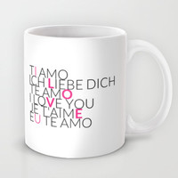 I Love U - 6 Languages - Pink Mug by cooledition
