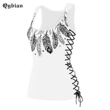 Qybian Summer new skull tank top for ladies  sleeveless women tshirts Fitness Staggered straps tank top Female women clothing