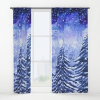 pine forest under galaxy Window Curtains by Color And Color