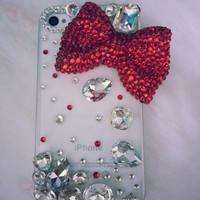 New Chic Elegant Big Bling Red Bowknot Big Crystals Rhinestones Mobile Cell Phone Case for iPhone 4s 5s Sasmung - Casemoda | Pinkoi