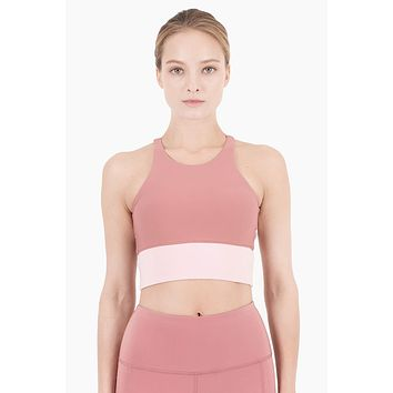 Aria Cropped Color Block Sports Bra - Dusty Pink/Peony