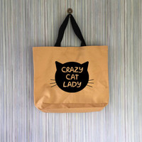Crazy Cat Lady Canvas Tote Bag - Grocery Bag - Beach Bag - Book Bag
