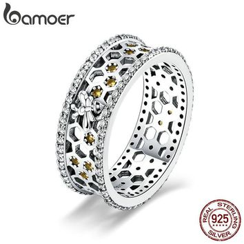 BAMOER Genuine 100% 925 Sterling Silver Trendy Bee & Honeycomb Clear CZ Finger Rings Engagement Wedding Jewelry Gift SCR391