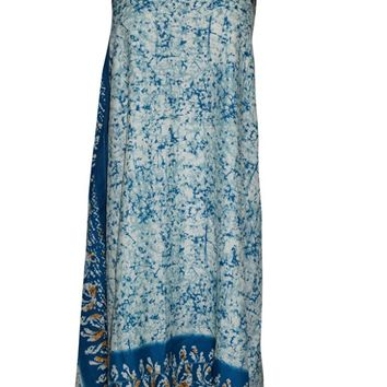 Women's Beach Wrap Skirt Blue Printed Premium Silk Sari Sarong Dress