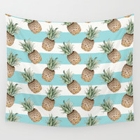 Pineapple pattern Wall Tapestry by Marta Li
