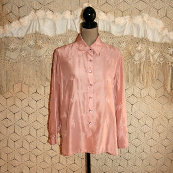 Blush Pink Blouse Pink Silk Blouse Women Silk Shirt Button Up Long Sleeve Oversize Embroidered Beaded Dressy Blouse Large XL Womens Clothing