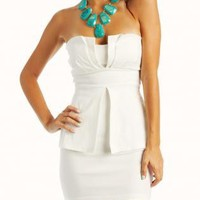 White Peplum Tube Dress