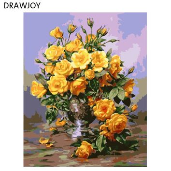 Yellow Rose Framless Picture Home Decor DIY Acrylic Oil Painting By Numbers Wall Art DIY Canvas Oil Painting 40*50cm GX7530